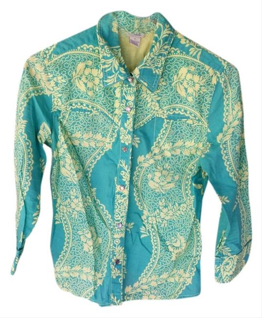 Anthropologie 3/4 Sleeve 4 Button Down Shirt Teal and Yellow