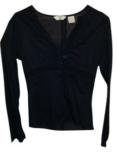 Quizz Bazaar Peasant Lace Trim Embellished Top Black