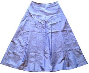 Express Iridescent Shiny A-line Tea Length Ballerina Spring 1950s Natural Waist Retro Skirt Blue