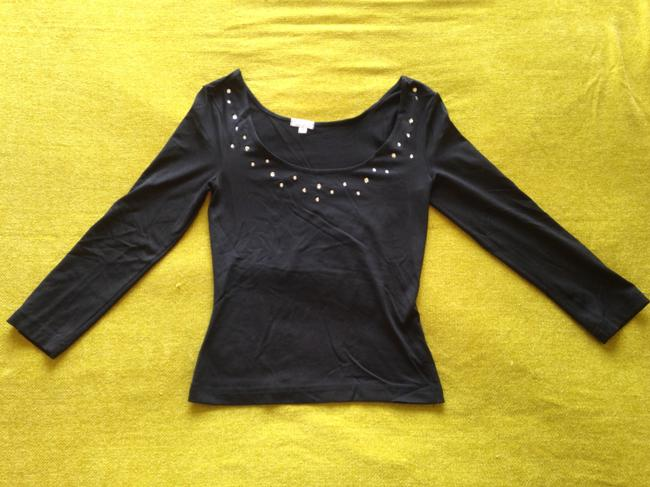 XOXO Stretchy Form-fitting Rhinestone Studded Boatneck Scoop Neck 3/4 Sleeves Top Black
