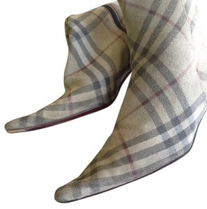 Burberry Cream Plaid Boots