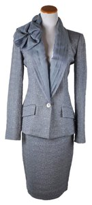 Dior Dior Couture Lavender Silver tweed silk collar skirt suit size 6