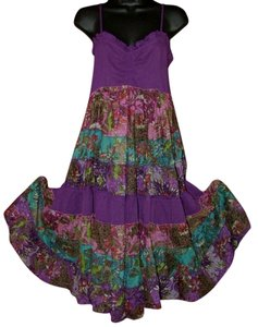 Independent Design short dress Purple and Floral Boho Bohemian Tiered Pieced Sundress on Tradesy
