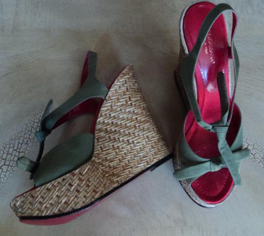 Dolce&Gabbana Fashion Wedges Style Wicker green Platforms Image 2