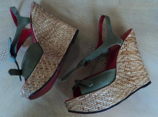 Dolce&Gabbana Fashion Wedges Style Wicker green Platforms Image 3