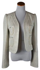 Tuleh Wool Tweed Metallic Threads Jacket Size 8 Ivory Blazer
