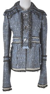 Tuleh Wool Blue Brown Tweed Metallic Threads Jacket Multicolor Blues Blazer