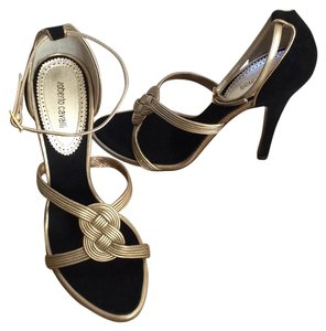 Roberto Cavalli Black Heels Evening New Muted Gold w/ blk accent Sandals