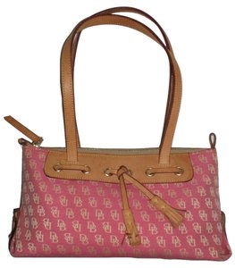 Dooney & Bourke Tassel Leather Pink Logo Satchel in Pink/Tan