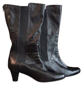 Fitzwell Wide Calf Tall Low Heel Goring 10 Wide Calf Stretchy Stretchy Black Boots