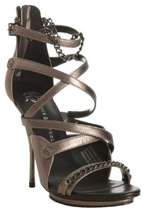Rock & Republic Chain Studded Platform Strappy Pewter Sandals