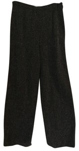 Max Mara Italian Wool Tweed Straight Pants Black Tweed