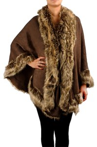 Other Luxury Fur Trimmed Wrap Faux Fur Brown Fur Brown Fur Wrap Brown Shawl Cape