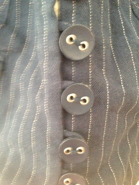 Anthropologie Pins Pinstripe Button Down Shirt Navy