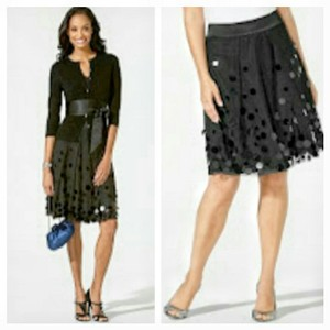 Ann Taylor Sheer Sparkle Skirt Black
