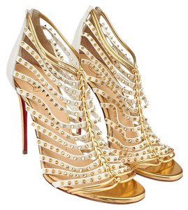 Christian Louboutin Millaclou Leather Spiked White & Gold Sandals