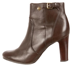 Tory Burch Leather Round Toe Gold Brown Boots