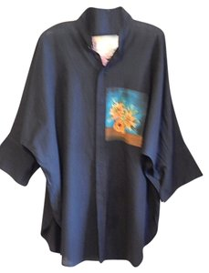 Dilemma Organic Cotton Hand Painted Top Black with print