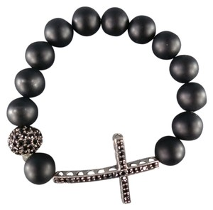 Tai TAI Black Beaded Crystal Cross Bracelet