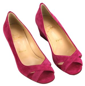 Christian Louboutin Red Bottoms Suede Hot Pink Wedges