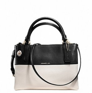Coach 36233 F36233 And Borough Borough Colorblock Leather Multifunction Pockets Iphone Android Cell Phone Shoulder Satchel in Black/White
