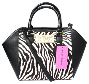 Betsey Johnson Fur Satchel in Black, White