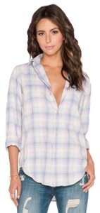 Current/Elliott Prep Shirt Button Down Shirt Desert Plaid Pastel blue & purple plaid