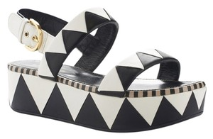 Sergio Rossi Streetstyle Leather Sandal Black/White Sandals