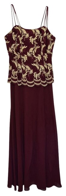 Lenovia Wedding Prom Cocktail Chiffon Embroidered Gold Red Evening Elegant Occasion Dress