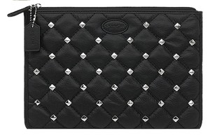 Coach COACH Madison Quilted Black Leather Stud Tech Pouch F62781 New with Tag