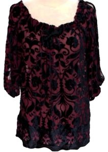 Hale Bob Silk Lace Top Black & Magenta
