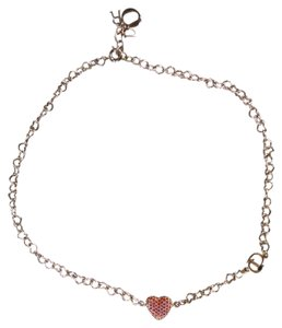 Dior DIOR Silver Chain Pink & Red Crystal Heart Charm Bracelet
