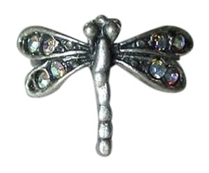 Other VINTAGE DRAGONFLY RING SILVER METAL AURORA BOREALIS STONES