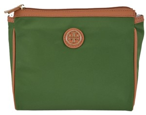 Tory Burch NEW Tory Burch Lettuce Green Dena Nylon Zip Top Cosmetic Makeup Bag