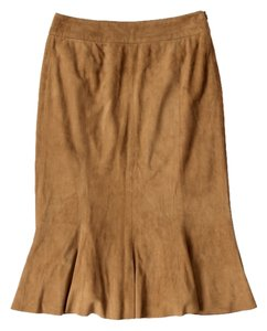 Ralph Lauren Blue Label Suede Skirt Tan