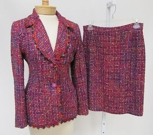 Vintage Terry Paris Red Multi Tweed Pc Lined Skirt Blazer Suit