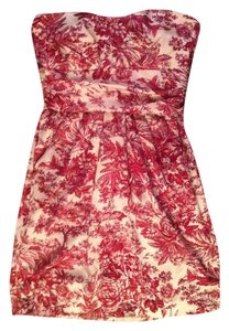 Love Culture short dress Cream and red Floral Print Pleated on Tradesy