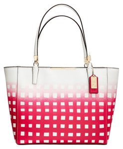 Coach F30118 Tote in SILVER/WHITE/RED