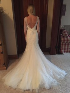 David's Bridal 3/4 Sleeve Lace Trumpet Gown With Godet Skirt Wedding Dress