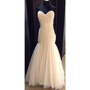 Maggie Sottero Champagne Tulle Lacey Formal Wedding Dress Size 16 (XL, Plus 0x)