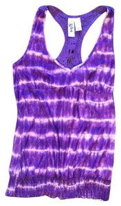 L8ter Tie Dye Crochet Stretchy Comfortable Top Purple