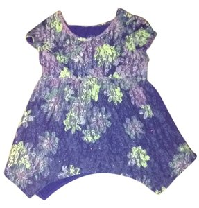 Justice Floral Lace Vintage Top Blue and Green