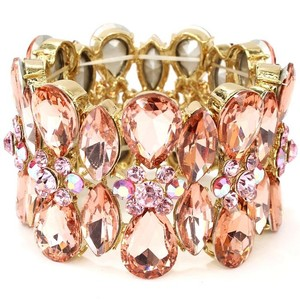 Peach And Pink Hued Crystal Statement Bracelet