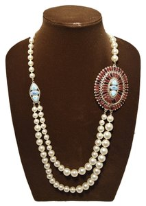 Chanel Chanel Pearl Necklace With Turquoise and Burgundy Stones