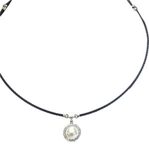 Charriol Charriol Celtic Noir stainless steel Cable With Pearl & Diamonds 18 Karat Gold Pendant Necklace
