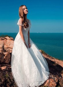 Butterfly Style Sleeves Lace Wedding Dresses Lace-up Corset A Line Simple Bridal Gown Wedding Dress