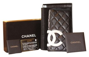 Chanel Chanel Cambon Quilted Black White Ligne Leather CC Monogram Wallet.