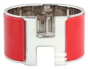 Hermès *SOLD ON EBAY* Red and White Extra Wide Clic H P M