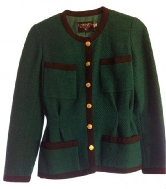 Chanel Vintage Tweed Classic Green Blazer Image 0