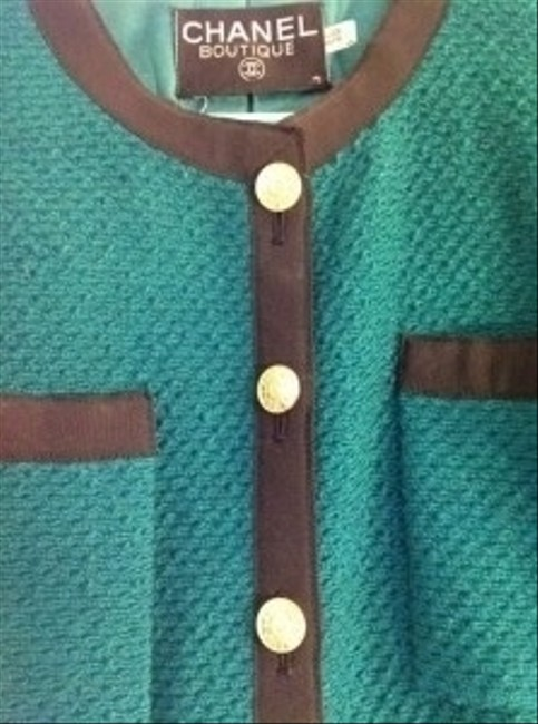 Chanel Vintage Tweed Classic Green Blazer Image 1